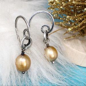 Silpada W1431Gold 925 Freshwater Pearl Earrings